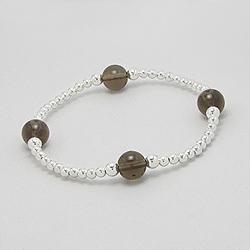 Bracelet Perle d'Argent et Quartz Fumé