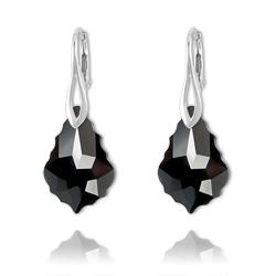 Boucles Baroque en Argent et Cristal Noir