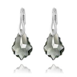 Boucles Baroque en Argent et Cristal Black Diamond