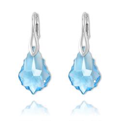 Boucles Baroque en Argent et Cristal Bleu