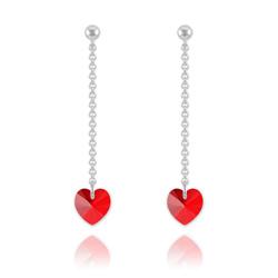 Boucles Coeur en Argent et Cristal Rouge Light Siam
