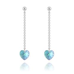 Boucles Coeur en Argent et Cristal Bleu AB