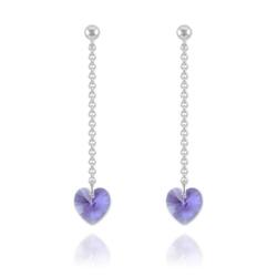 Boucles Coeur en Argent et Cristal Tanzanite