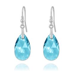 Boucles Goutte en Argent et Cristal Bleu
