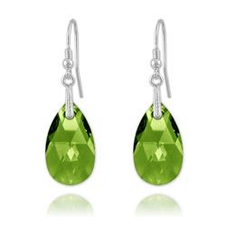 Boucles Goutte en Argent et Cristal Vert Péridot