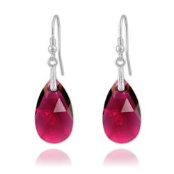 Boucles Goutte en Argent et Cristal Ruby