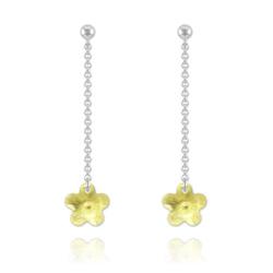 Boucles Fleur en Argent et Cristal Jaune