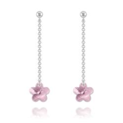 Boucles Fleur en Argent et Cristal Violet