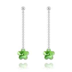 Boucles Fleur en Argent et Cristal Vert Péridot