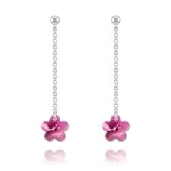 Boucles Fleur en Argent et Cristal Fuchsia