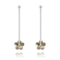 Boucles Fleur en Argent et Cristal Silver Shade