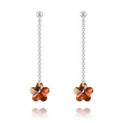 Boucles Fleur en Argent et Cristal Copper