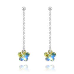Boucles Fleur en Argent et Cristal Crystal AB