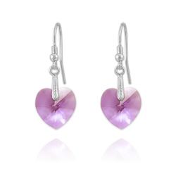 Boucles Coeur 14mm en Argent et Cristal Violet