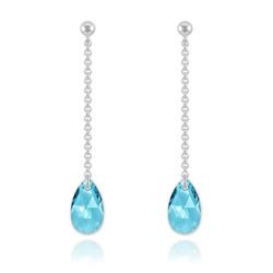 Boucles Goutte 16mm en Argent et Cristal Bleu