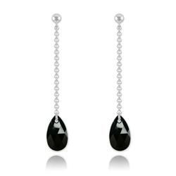 Boucles Goutte 16mm en Argent et Cristal Noir