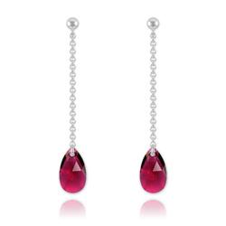 Boucles Goutte 16mm en Argent et Cristal Ruby