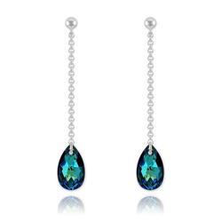 Boucles Goutte 16mm en Argent et Cristal Bleu Bermude