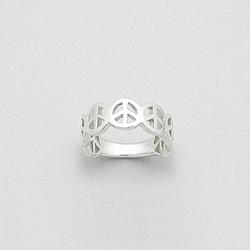 Bague en Argent Peace and Love