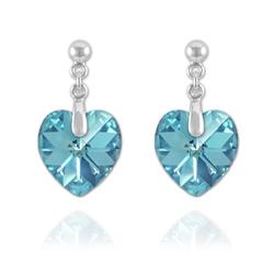 Boucles Coeur 18mm en Argent et Cristal Bleu AB