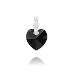 Pendentif Coeur 14mm en Argent et Cristal Noir