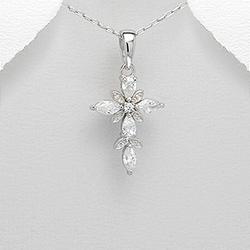 Pendentif Croix en Argent et Diamant CZ