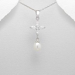Pendentif Perle et Diamant en Argent