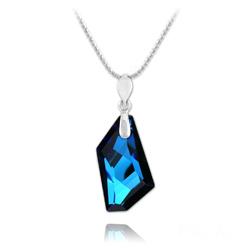 Collier De-Art en Argent et Cristal Bleu Bermude