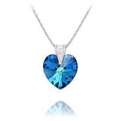 Collier Coeur 18mm en Argent et Cristal Bleu Bermude