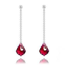 Boucles Baroque 16mm en Argent et Cristal Ruby