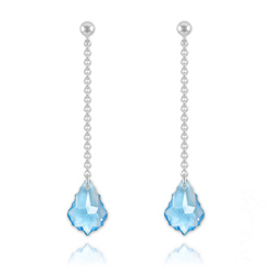 Boucles Baroque 16mm en Argent et Cristal Bleu