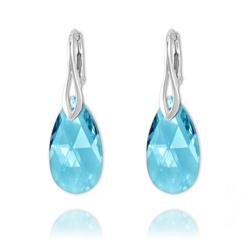 Boucles Goutte 22mm en Argent et Cristal Bleu