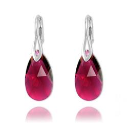 Boucles Goutte 22mm en Argent et Cristal Ruby