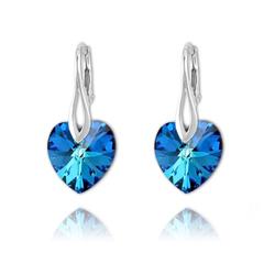 Boucles Coeur 14mm en Argent et Cristal Bleu Bermude