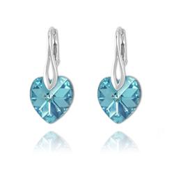 Boucles Coeur 14mm en Argent et Cristal Bleu AB