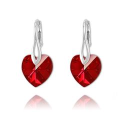 Boucles Coeur 14mm en Argent et Cristal Rouge Siam AB