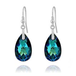 Boucles Goutte en Argent et Cristal Bleu Bermude