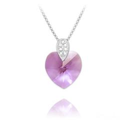 Collier Coeur 14mm en Argent rhodié et Cristal Violet