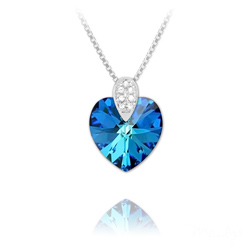Collier Coeur 14mm en Argent rhodié et Cristal Bleu Bermude