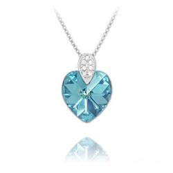 Collier Coeur 14mm en Argent rhodié et Cristal Bleu AB