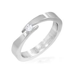 Bague en Acier Diamant CZ