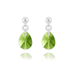 Boucles d'Oreilles Goutte en Argent et Cristal Vert