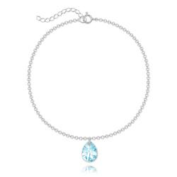 Bracelet Goutte 12mm en Argent et Cristal Bleu