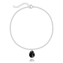 Bracelet Goutte 12mm en Argent et Cristal Noir