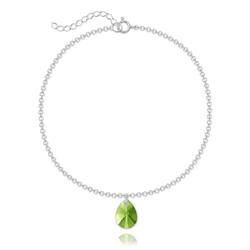 Bracelet Goutte 12mm en Argent et Cristal Vert Péridot