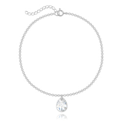 Bracelet Goutte 12mm en Argent et Cristal Blanc Aurore Boréale