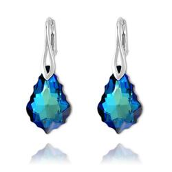 Boucles Baroque en Argent et Cristal Bleu Bermude