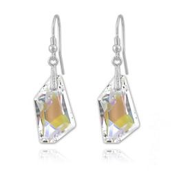Boucles d'Oreilles en Cristal et Argent Boucles De-Art 24mm en Argent et Cristal Crystal AB