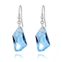 Boucles d'Oreilles en Cristal et Argent Boucles De-Art 24mm en Argent et Cristal Bleu