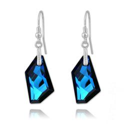 Boucles d'Oreilles en Cristal et Argent Boucles De-Art 24mm en Argent et Cristal Bleu Bermude